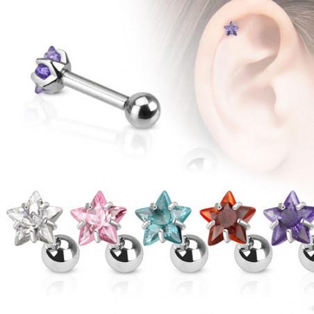 Piercing oreille étoile cristal