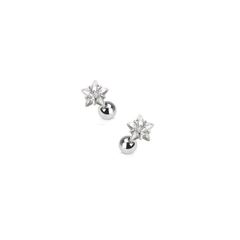 Piercing oreille acier chirurgical motif étoile cristal blanc diamant pour piercing tragus piercing hélix et cartilage
