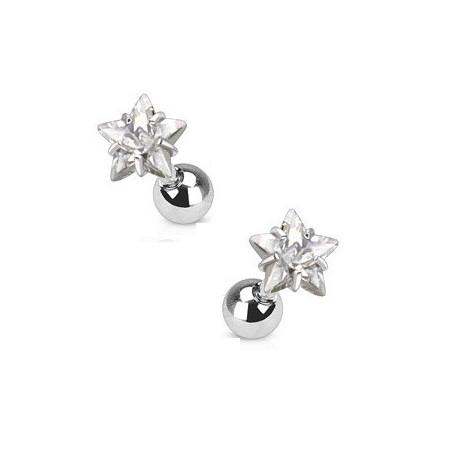 Piercing oreille étoile cristal blanc