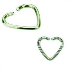 Piercing oreille 1.2mm coeur acier couleur vert