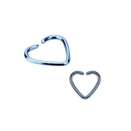 Piercing oreille 1.2mm coeur acier couleur bleu