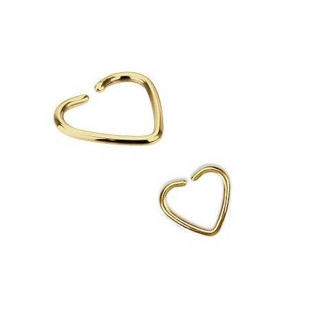 Piercing oreille 1.2mm coeur acier couleur or