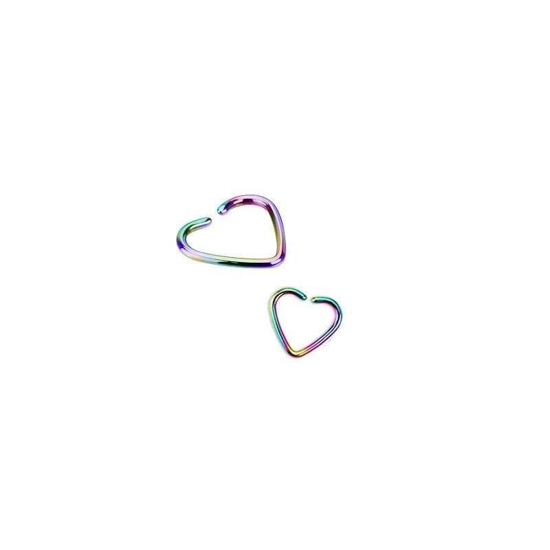 Piercing anneau pour oreille en titane de couleur essence arc en ciel