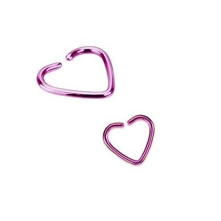 Piercing oreille 1.2mm coeur acier couleur violet