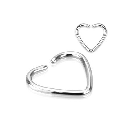 Piercing oreille 1.2mm coeur acier titane