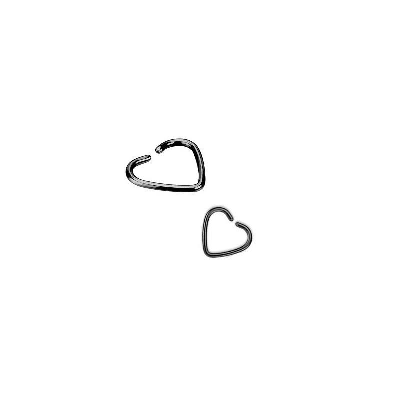 Piercing anneau pour oreille en titane noir motif coeur pour piercing tragus piercing hélix et cartillage