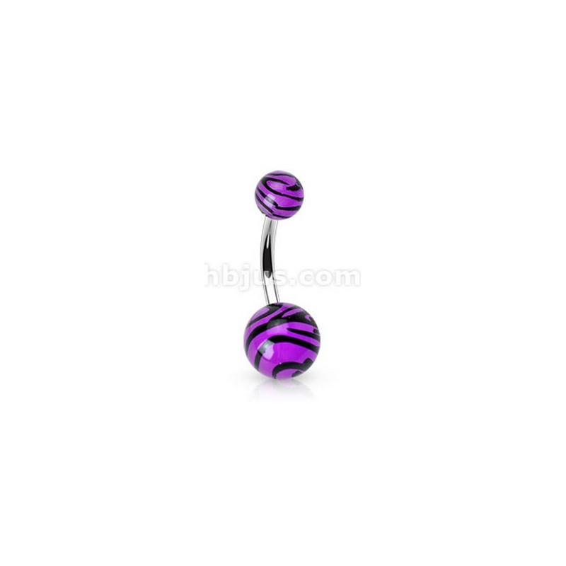 Piercing nombril bille Zébré de couleur noir et violet fluo en acier chirurgical pas cher