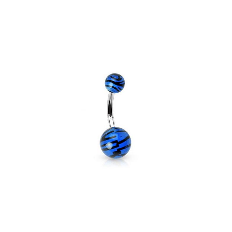 Piercing nombril bille Zébré de couleur noir et bleu fluo en acier chirurgical pas cher