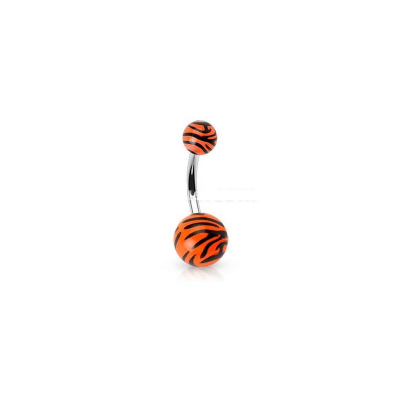 Piercing nombril bille Zébré de couleur noir et orange fluo en acier chirurgical pas cher