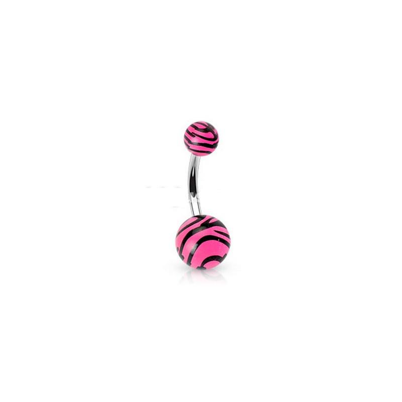 Piercing nombril bille Zébré de couleur noir et rose fluo en acier chirurgical pas cher