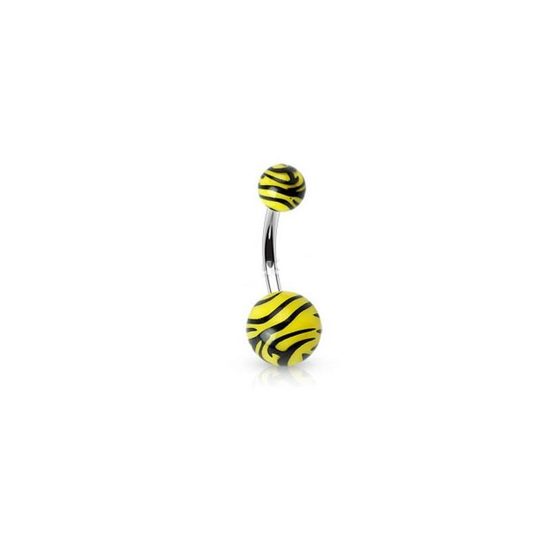 Piercing nombril bille Zébré de couleur noir et jaune fluo en acier chirurgical pas cher