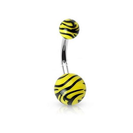 Piercing nombril bille Zébré noir et jaune