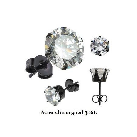 Boucles d'oreille acier noir cristal blanc