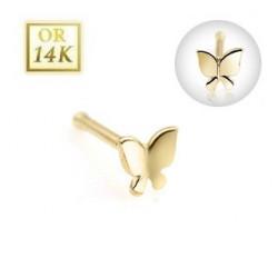 Piercing nez tige droite or jaune papillon