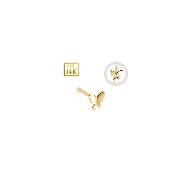 Piercing nez tige droite en or jaune 14 carats motif papillon