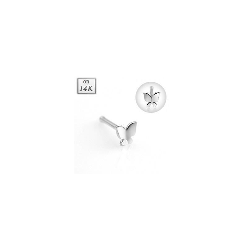 Piercing nez tige droite en or blanc 14 carats motif papillon
