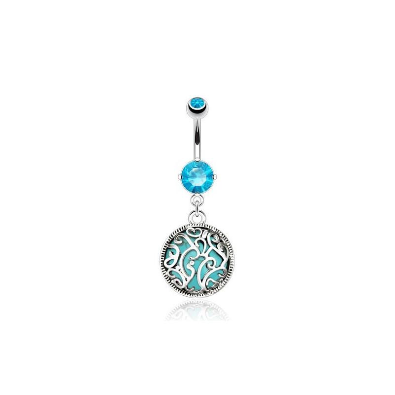 Piercing nombril pendant en acier chirurgical pierre semi-naturel cristal Turquoise liseré acier