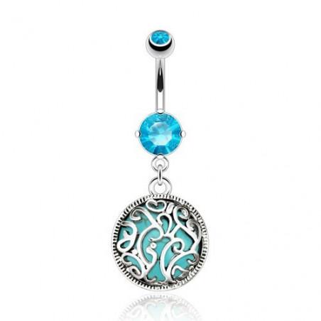 Piercing nombril Turquoise motif acier