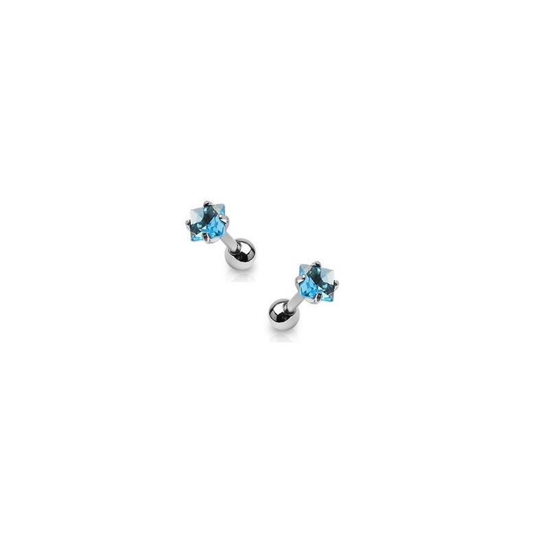 Piercing oreille cartilage tragus en acier chirurgical et cristal bleu turquoise carré de qualité