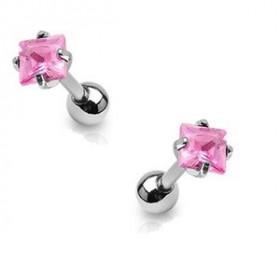 Piercing oreille cartilage tragus en acier chirurgical et cristal rose carré de qualité