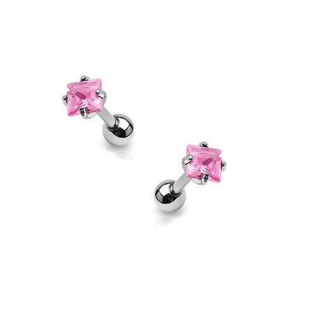 Piercing oreille cartilage cristal rose carré