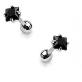 Piercing oreille cartilage tragus en acier chirurgical et cristal noir carré de qualité