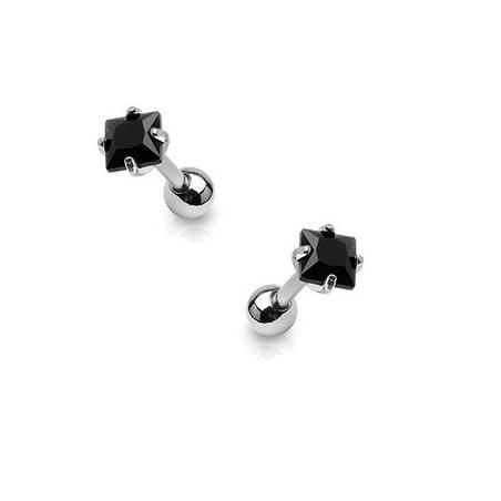 Piercing oreille cartilage cristal noir carré