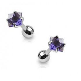 Piercing oreille cartilage tragus en acier chirurgical et cristal violet carré de qualité