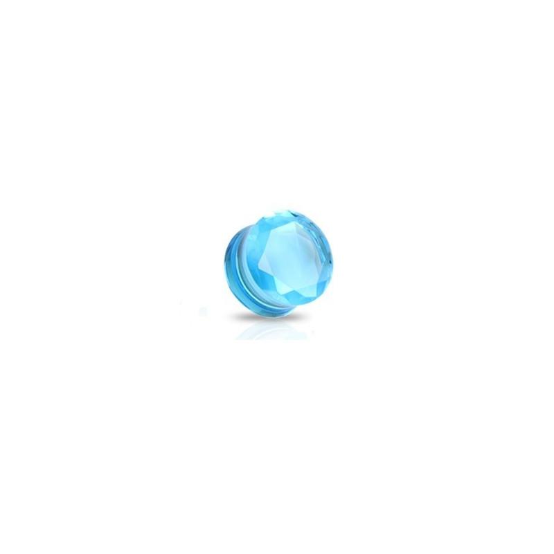 piercing ecarteur Plug en verre évasé taillé en facette couleur bleu