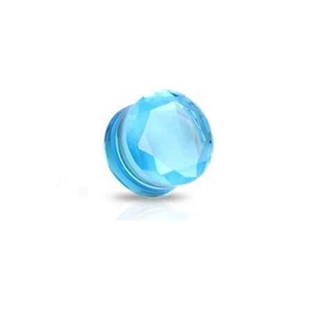 Plug en verre évasé taillé en facette couleur bleu