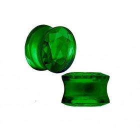 piercing ecarteur Plug en verre évasé taillé en facette couleur vert