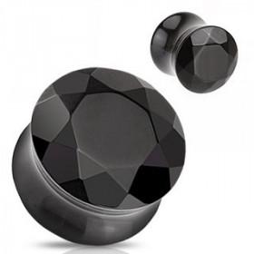 piercing ecrateur Plug en verre évasé taillé en facette Noir