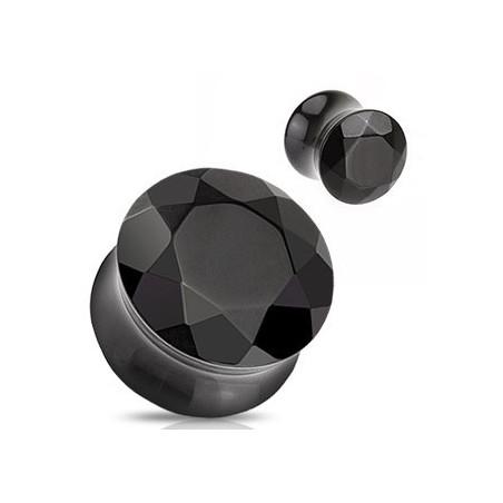 Plug en verre évasé taillé en facette Noir