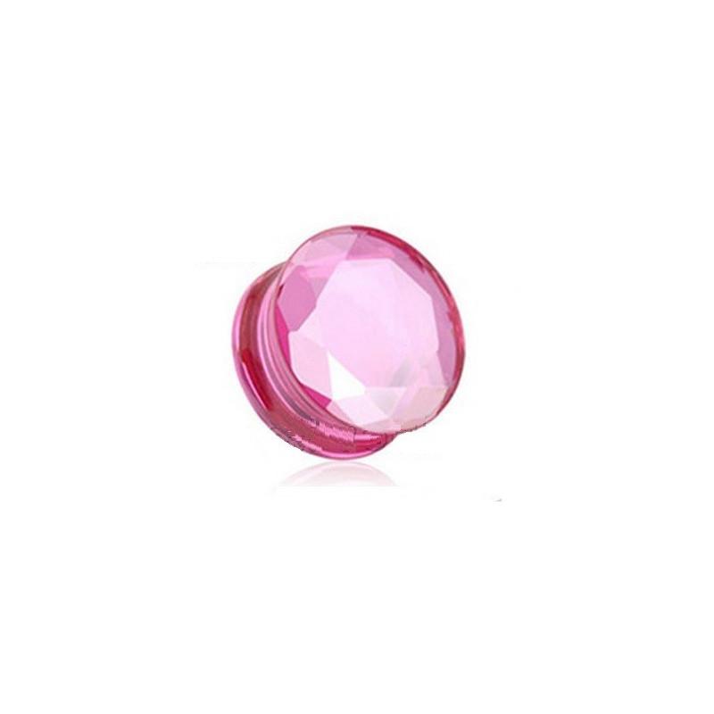 Plug en verre pyrex rose évasé taillé en facette couleur
