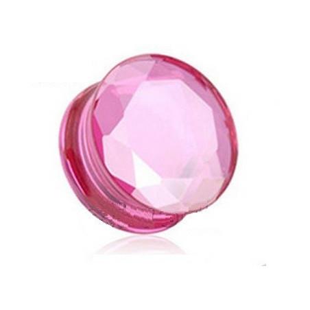 Plug en verre évasé taillé en facette couleur rose