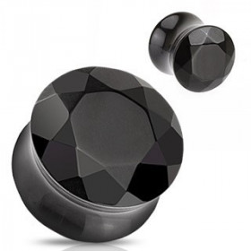 Plug en agate noire taillé en facette pierre semi précieuse.
