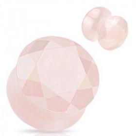 Plug en quartz rose taillé en facette plug écarteur d'oreille en pierre semi-précieuse pas cher
