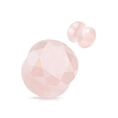 Piercing Plug en quartz rose taillé en facette
