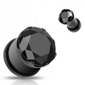 PIercing plug écarteur en acier noir et cristal Noir