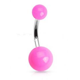 Piercing de nombril barre en titane bille en acrylique de couleur rose fluo pas cher