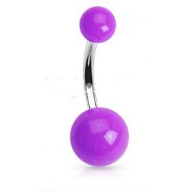 Piercing de nombril barre en titane bille en acrylique de couleur violet fluo pas cher