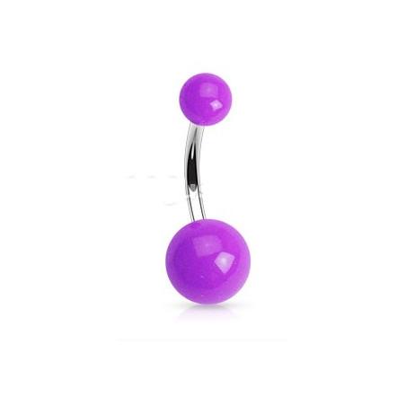 Piercing nombril bille vioolet Fluo
