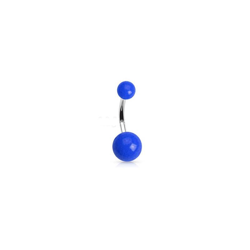 Piercing de nombril barre en titane bille en acrylique de couleur bleu fluo pas cher