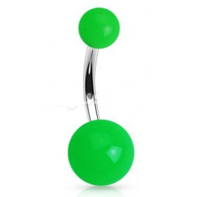 Piercing de nombril barre en titane bille en acrylique de couleur vert fluo pas cher