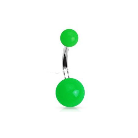Piercing nombril bille vert Fluo