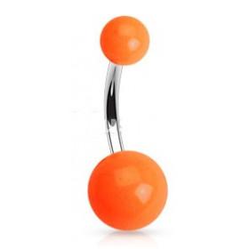 Piercing de nombril barre en titane bille en acrylique de couleur orange fluo pas cher