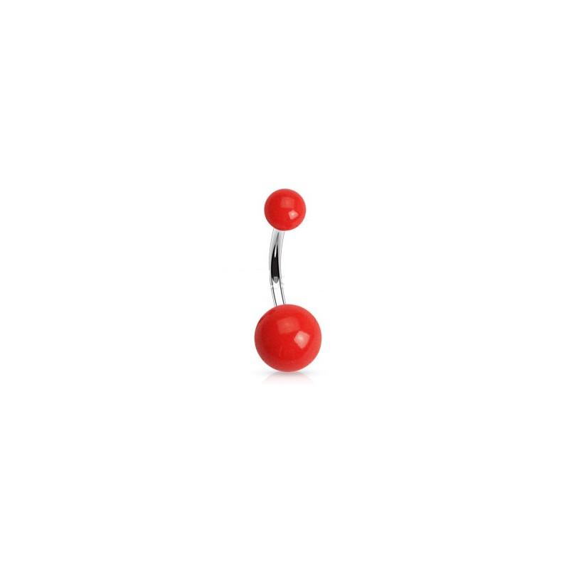 Piercing de nombril barre en titane bille en acrylique de couleur rouge fluo pas cher