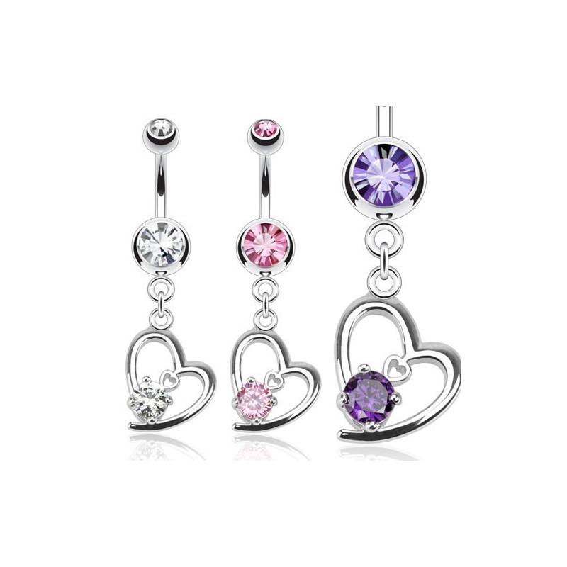 Piercing nombril barre acier chirurgical pendentif coeur cristal blanc