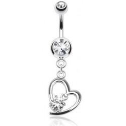 Piercing nombril pendentif coeur cristal blanc