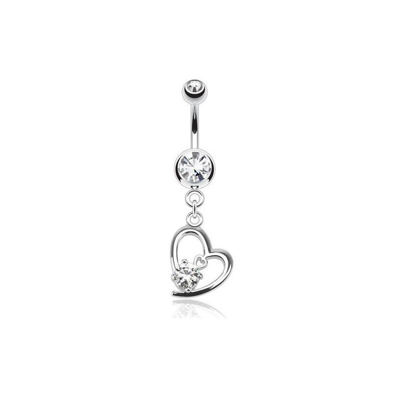 Piercing nombril barre acier chirurgical pendentif coeur cristal blanc pas cher